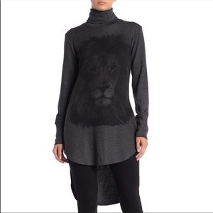 GO COUTURE Turtleneck High/Low Tunic Sweater GRAY